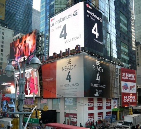 Samsung Galaxy S4 / LG Optimus Pro Werbung am Time Square