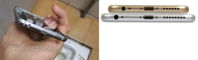 Links: Das angebliche S6 Metall-Gehäuse (© nowhereelse.fr) / Rechts: Das Apple iPhone 6 (Plus) © Computerbild